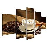 islandburner Bild Bilder auf Leinwand Eine Tasse Cappuccino und Kaffeebohnen Wandbild, Poster, Leinwandbild MVQ