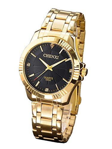 Chenxi Herren Uhr Analog Quarz mit Edelstahl vergoldet Armband CX-050A