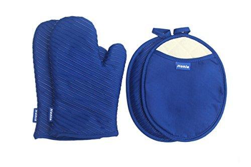 Honla Gestreift Ofenhandschuhe und Topflappen Set, Baumwolle, blau, M