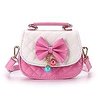 IGNPION Little Girls Bowknot PU Cross Body Handbag Mini Fashions Tote Shoulder Purse Handbag Messenger Bag with Handle- Nice Stocking Filler(Pink+White)