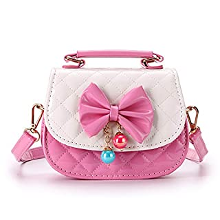 IGNPION Little Girls Bowknot PU Cross Body Handbag Mini Fashions Tote Shoulder Purse Handbag Messenger Bag with Handle- Nice Stocking Filler(Pink+White)