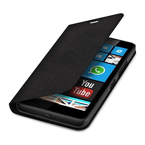 kwmobile Funda potectora práctica y chic FLIP COVER para Microsoft Lumia 640 XL en negro