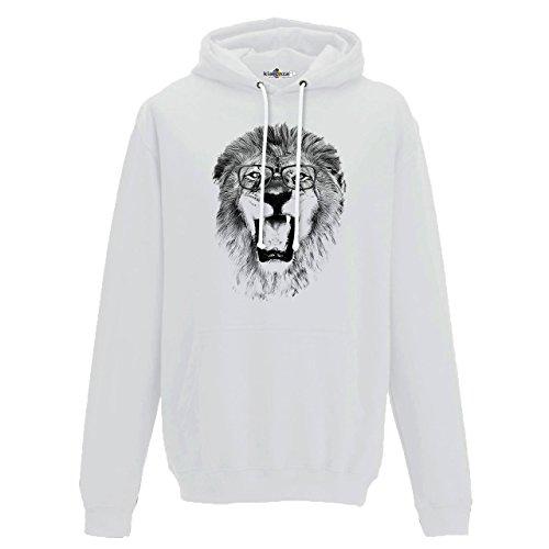 Kopf-wand-hoodie (Hoodie Kapuzen-Sweat-Shirt Lion Roar Mane Brille Kopf Tierzahn Savana 2 S)