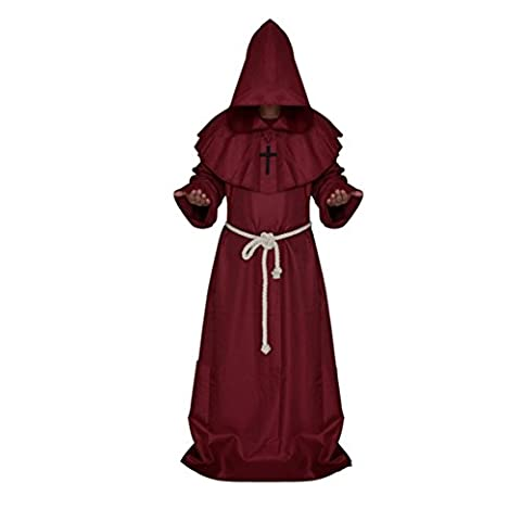 BAITER Monks Robe Friar Medieval Hooded Monk Renaissance Priest Robe Clothes Halloween Decoration Fancy Dress Standard Costume for Adults (XL,