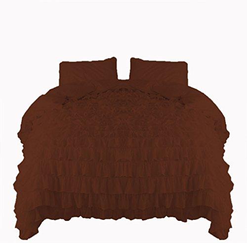 scalabedding Scala Betten Wasserfall Rüsche Bettbezug & kissenrollen 5Stück Set 600TC Ägyptische Baumwolle Queen Schokolade - Bett Queen-schokolade