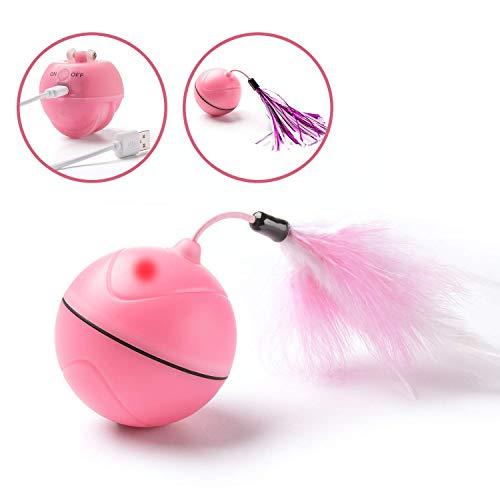 Shopping-going Interaktives Katzenspielzeug, 360 Grad drehbar, mit Kfz-Licht-Spielzeug für Haustiere. Katzenjägerball mit Abnehmbarer Feder.