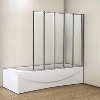 4 Panel Semi Frameless Folding Bath Screen Amazon Co Uk