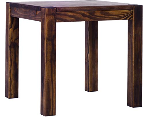Brasilmöbel Esstisch Rio Kanto 80x80 cm Eiche antik Pinie Massivholz Größe und Farbe wählbar Esszimmertisch Küchentisch Holztisch Echtholz vorgerichtet für Ansteckplatten Tisch ausziehbar -