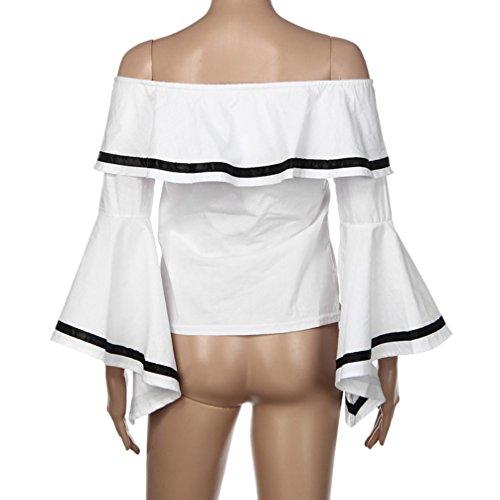 Vovotrade® Femmes Sexy Slash Neck Casual Flare Sleeve Tops Blouse élégant été Blanc