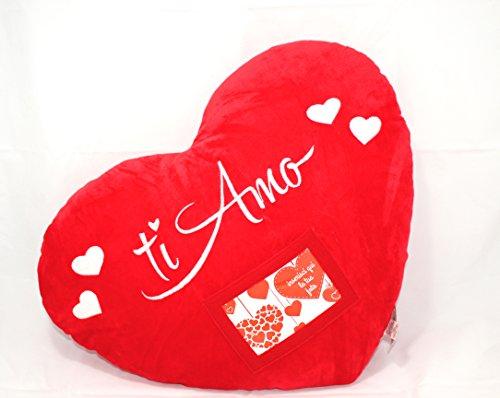 Cuscino cuore san valentino con tasca portafoto - ti amo - cod. 2064
