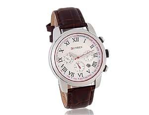 Montre analogique Curren 8100 hommes avec PU bracelet en cuir (Marron) M.