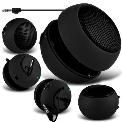 N4U Online®Microsoft Lumia 640XL Mini-/Reise-Lautsprecher, aufladbar, 3,5mm Klinkenstecker auf Klinken-Eingang, Schwarz