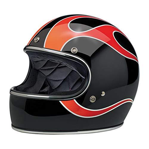 Integralhelm Gringo Biltwell Dice Flames zugelassen Doppel zugelassen ECE (Europa) & DOT (America) Helmet Biker Custom Vintage Retrò 70 L Schwarz