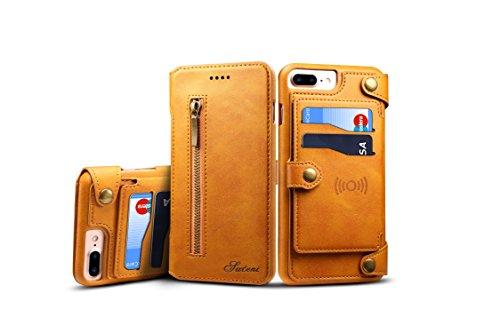 iPhone 7Plus/8P Cover Leder, tacoo Reißverschluss Kreditkarte Visitenkartenhalter Geld Slot Slim Soft Fashion Abnehmbare Schutzhülle Wallet Case Shell für Apple iPhone 6Plus/6S Plus 7/8Plus, Khaki