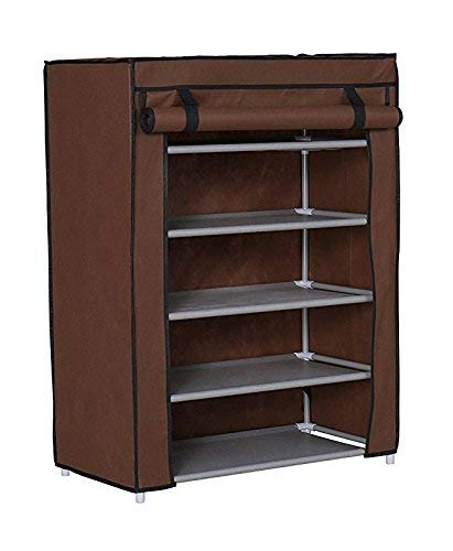 BUCKETLIST® 5 Tiers Multi-Purpose Books/Paper/File/Shoe/Toys/Showpiece/Bookcase Book Rack Storage Organiser Storage Organizer Cabinet Tower with Iron and Nonwoven Fabric with Zippered Dustproof Cover