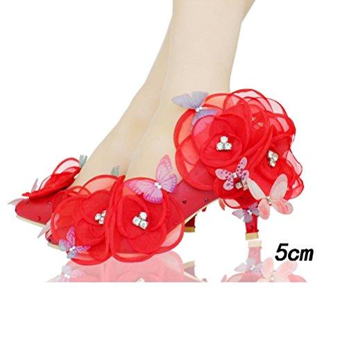 QPYC Scarpe da sposa per le donne scarpe da sposa per adulti Scarpe da sposa in cristallo di sposa in puro scarpe da sposa delle donne fidanzate Fiori bianchi farfalla 5cm red