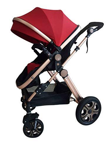 """Kinderwagen \""""Florida\"""", 3 in 1 Kombikinderwagen Megaset 8 teilig inkl. Babyschale, Babywanne, Sportwagen und Zubehör, zertifiziert nach der Sicherheitsnorm EN1888, Bordeaux Rot"""