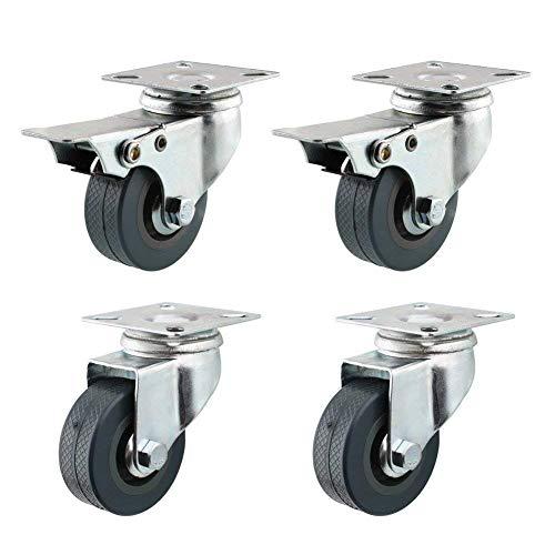 FIXKIT 4 Stück Lenkrollen Set 50MM 2 mit und 2 ohne Bremse Schwerlastrollen