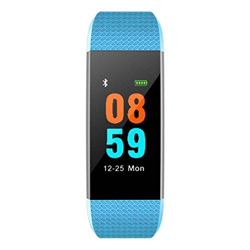 Masterein I9 Smart Band Color Screen IP68 Waterproof Heart Rate Blood Pressure Oxygen Fitness Tracker Bracelet Wristband Blue