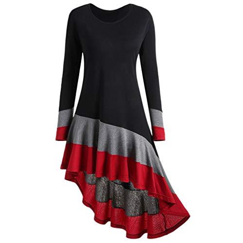 Yvelands Damen Langarmshirts Tuniken Stitching Farbe Langarm O -