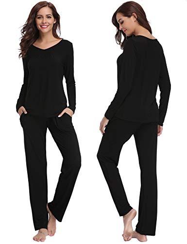 Abollria set pigiama lungo invernale pigiama da donna due pezzi in cotone con maniche lunghe camicia da notte pigiama donna