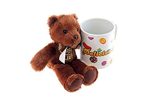 Candy Crush Gift-Wrapped Teddy Bear Plush with Ceramic Mug, Chocolate
