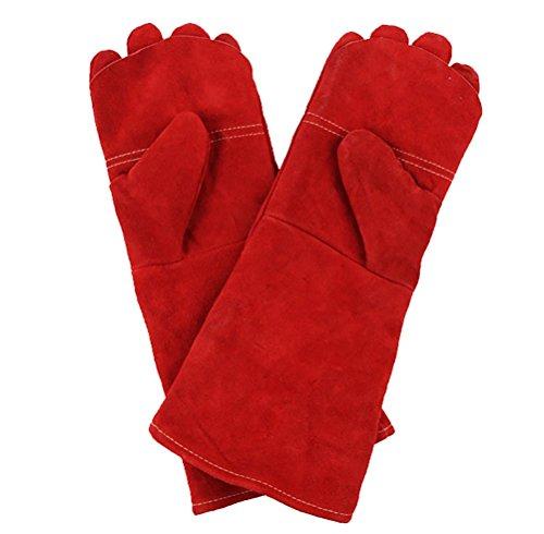 XYU Schweißen & BBQ Handschuhe, Premium-Grade-Leder, Heavy-Duty-Handschutz, Extreme Heat & Wear Beständig, Grill, Kamin, Arbeit, Garten, Backofen & Grill Kochen Backen Rauchen Handschuhe