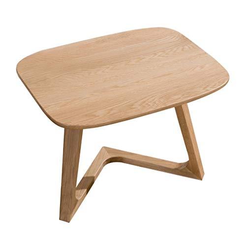 M-JH Table d'appoint, Table de Bout carrée de Table Basse avec Le côté de Sofa de Salon de Jambes de chêne Blanc, 600 * 470 * 430mm