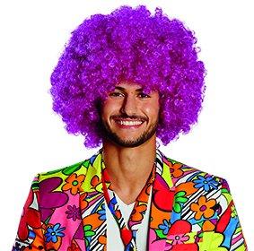 lown Accessoire Karneval Halloween Curly (Lila Afro Clown Perücke)