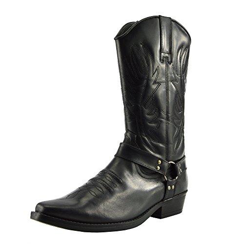 Kick Footwear Herren Leder Cowboy-Ziehen auf der Westlichen Langen kubanischen Ferse Smart Knöchel Stiefel EU40-47 - UK 9/EU 43, Schwarz (Leder-cowboy-stiefel Schwarze)