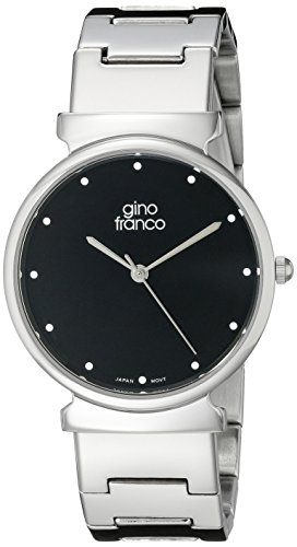 gino franco Men's 964BK Round Stainless Steel Bracelet Watch