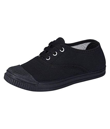 Pollo Boys Tennis Black School Shoe