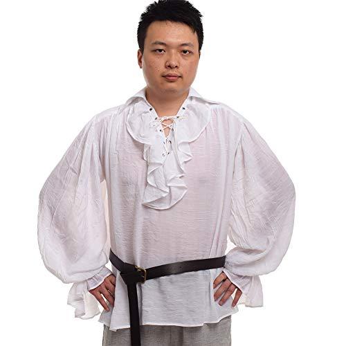 Für Erwachsenen Scottish Mann Kostüm - GRACEART Herren Mittelalterlich Nordisch Hemden mit Gürtel (Small)