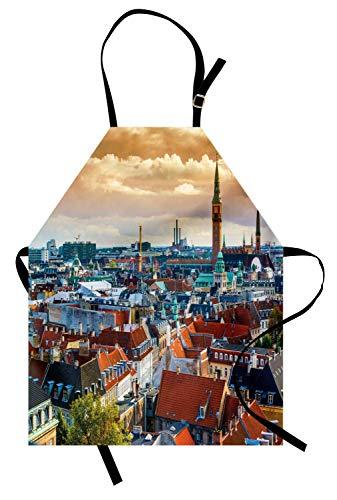 Stadt-Schürze, Luftaufnahme Kopenhagen Historische Gebäude Städtischer Lebensstil Mittelalterliche Architektur, Unisex-Küchenschürze mit verstellbarem Hals zum Kochen Backen Gartenarbeit, Multicolor
