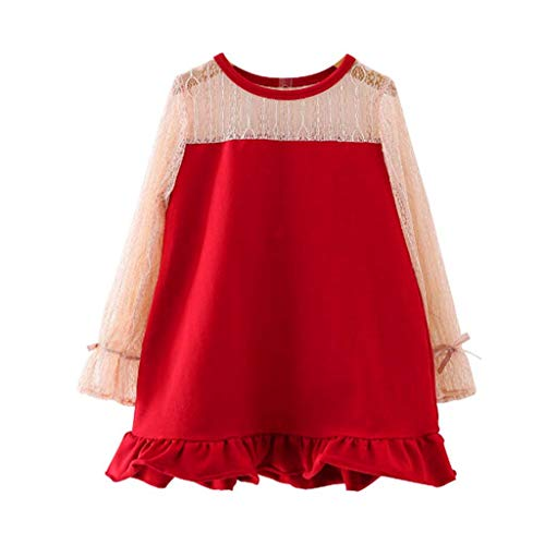Likecrazy Baby Mädchen Langarm Prinzessin Kleider,Spitze Kleid Kleinkind Kinder Abendkleid Partykleid Fischschwanz Kleider Herbst Winter Kleid Festliches