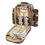 noTrash2003 Luxuriöser Picknickrucksack für 4 Personen mit Picknickdecke Metall-Geschirr Holzschneidbrett Flaschenkühler