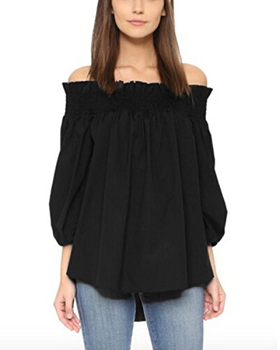 ZANZEA Damen Schulterfrei 3/4 Arm Freizeit Party Strand Lose Tops Shirt Bluse Schwarz XXXL -