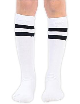 Jungen Gestreifte Athletische Fußballsocken Stutzen 1 oder 2 Paar in Schwarz oder Weiß für Alter 5-9