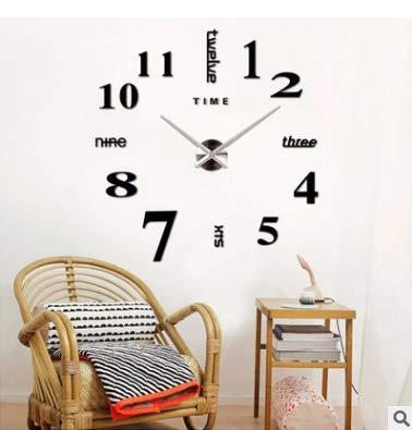 Asvert 3D Reloj de Pared Silencioso DIY de Material Acrílico con Números Adhesivos (Efecto de Espejo) y Agujas EVA para Decoración de Hogar, negro