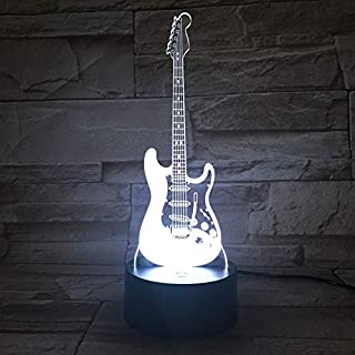 Ainstsk 3D Illusion Night Light, Modern LED Bass Shaped Night Light,Table Desk Lamps, Guitar Nightlights,7 Colors Changing Touch Control USB Lighting Bedroom Home Decorative, Music Lovers, Kids