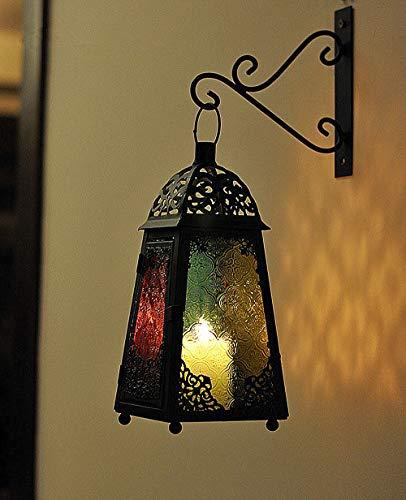 XUYH Orientalische Laterne aus Metall bunt Marokkanische Gartenlaterne für draußen,Innen als Bodenlaterne | mosaik Lampe Gartenwindlicht Windlicht hängend