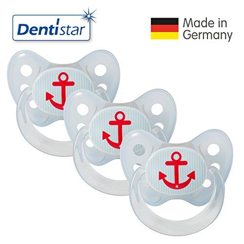 Preisvergleich Produktbild Dentistar® 3er Set Latex-Schnuller - Größe 2, 6-14 Monate - Nuckel aus Naturkautschuk für Babys, zahnfreundlich, ab dem ersten Zahn, Anker blau