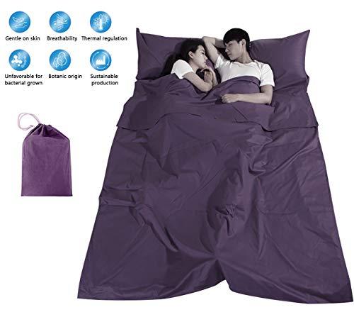 Einzelner Doppelschlafsack Liner 100% Baumwolle Schlafsack Leichtes tragbares Bettlaken Schmutzfestes kompaktes Reise-Campinglaken (Doppelt)