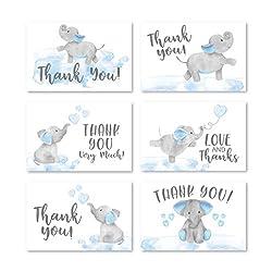 Dankeskarten für Babyparty, Elefantenmotiv, mit Umschlägen, für Kinder, 10 x 15 cm, verschiedene Danksagungskarten für Partys, Jungen/Kinder, Geburtstag, niedliche Veranstaltung, DIY Bulk Stationery