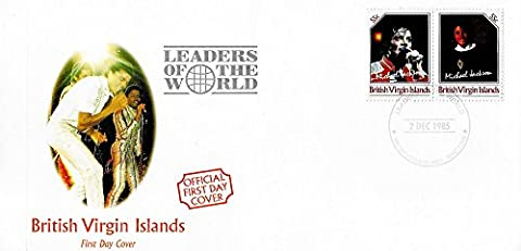 First Day Stamp Cover - Michael Jackson Führer der Welt MNH Paar Unissued Stamps / British Virgin Islands / 1985