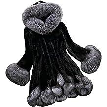 Mujeres Falda de invierno Faux Fox Fur abrigo con capucha de lujo chaqueta de abrigo largo vestido