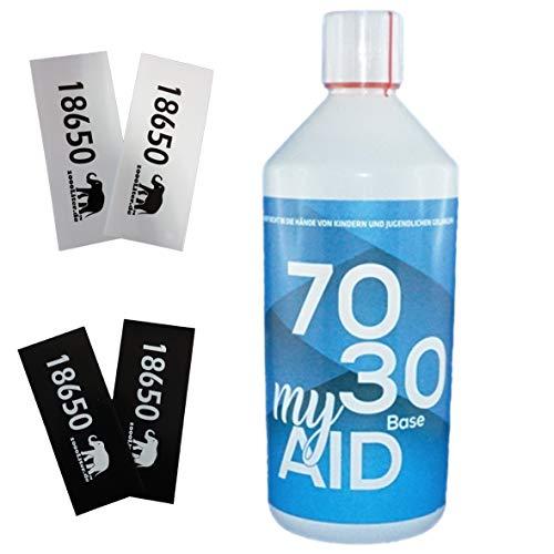 E Liquid Base My Aid 1 Liter 1000ml PUR Vape OHNE Nikotin 70VG / 30PG + 4 Akkusleeves