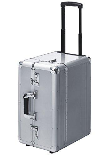 Pilotenkoffer Pilotentrolley XXL Aluminium Silber Alu mit Rollen 50 cm XXL Extra Groß