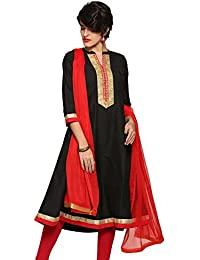 Abof Ethnic Black Embroidered Regular Fit Kurta With Dupatta