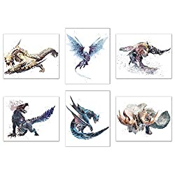 Watercolor Monster Hunter World: Iceborne Prints - Set von 6 Glänzenden Jagd-Wanddekorationen - Banbaro - Barioth - Beotodus - Ebenholz Odogoron - Nargacuga - Velkhana